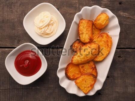 Rosmarijn ketchup mayonaise oude houten Stockfoto © andreasberheide