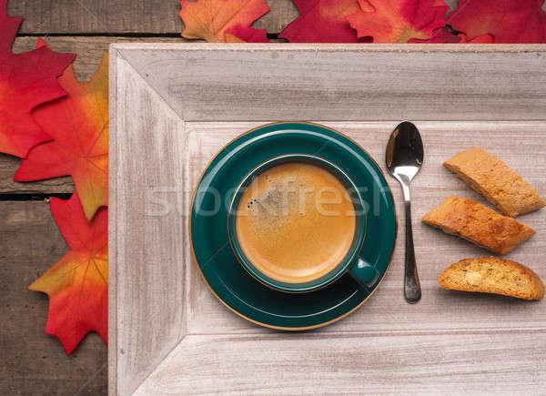 Кубок эспрессо деревянный стол природы дизайна фон Сток-фото © andreasberheide