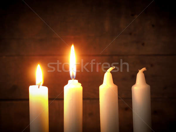 Advent candles on a wooden background Stock photo © andreasberheide