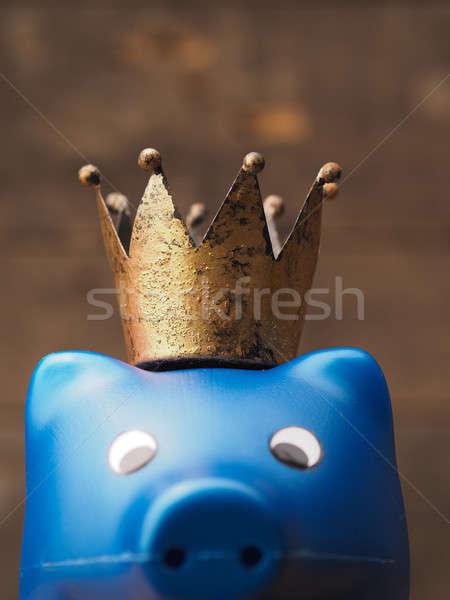 Blauw spaarvarken kroon oude besparing geld Stockfoto © andreasberheide
