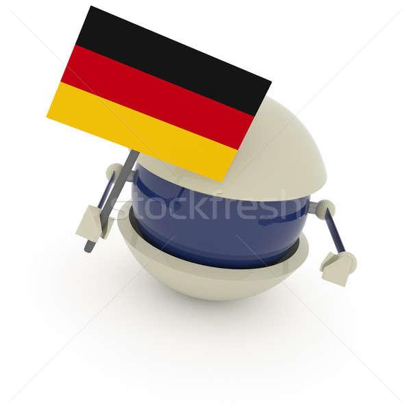 Sevimli robot küre bayrak Almanya beyaz Stok fotoğraf © andreasberheide