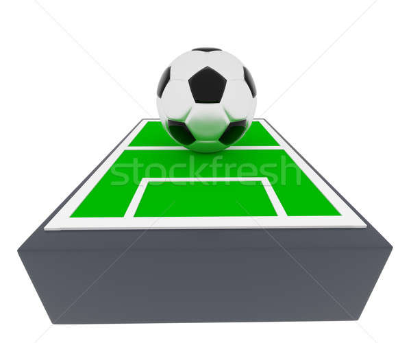 Foto stock: Balón · de · fútbol · campo · 3d · campo · de · fútbol · grande · 3D