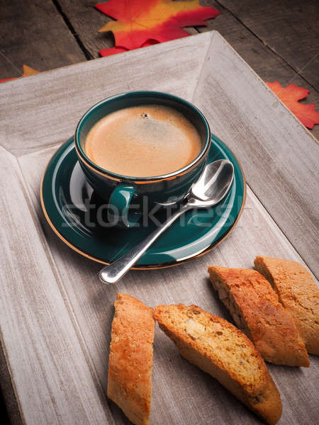 Espresso with cantuccini on a wooden plate Stock photo © andreasberheide