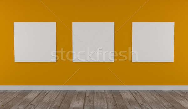 Para cima cartaz amarelo parede moderno interior Foto stock © andreasberheide
