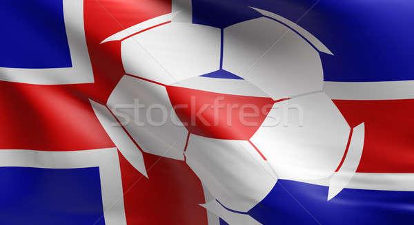 флаг Исландия футбольным мячом икона 3D Сток-фото © andreasberheide