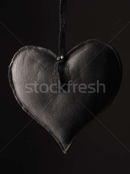Fekete bőr szív alak szeretet kép üdvözlőlap Stock fotó © andreasberheide
