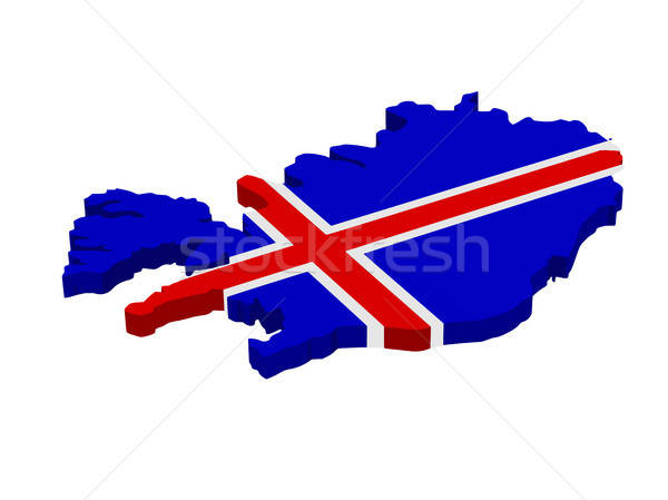 Map of Iceland with flag Stock photo © andreasberheide