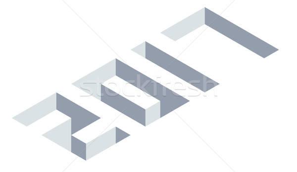 Isometric number 2017, New Year illustration Stock photo © andreasberheide