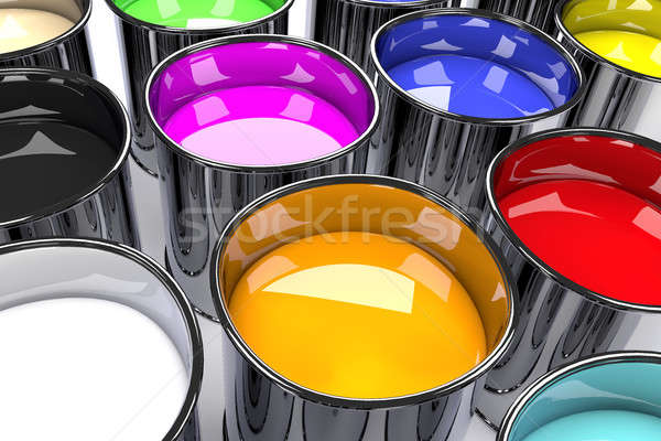 Close up of color can, 3d rendering Stock photo © andreasberheide