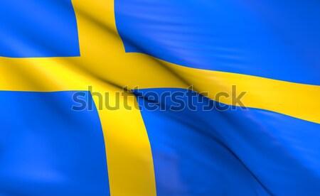 Bayrak İsveç 3D mavi Stok fotoğraf © andreasberheide