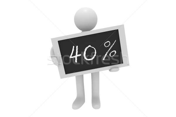 Pour cent 3d man tableau noir mots 40 texture Photo stock © andreasberheide