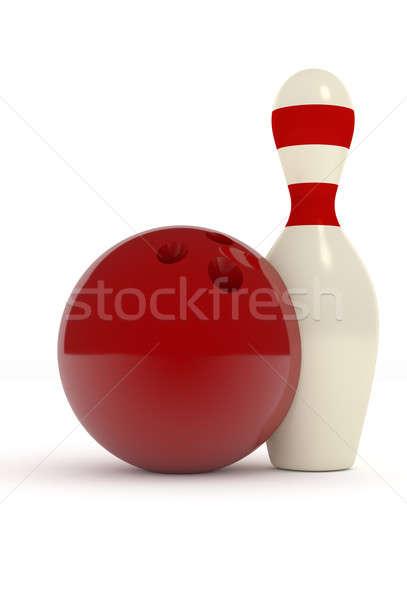 Boliche pin vermelho bola bola de boliche branco Foto stock © andreasberheide
