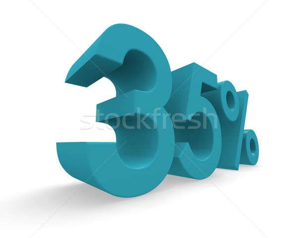 Harminc öt százalék 3D renderelt kép türkiz Stock fotó © andreasberheide