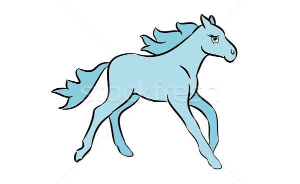 Cute horse drawing Stock photo © andreasberheide