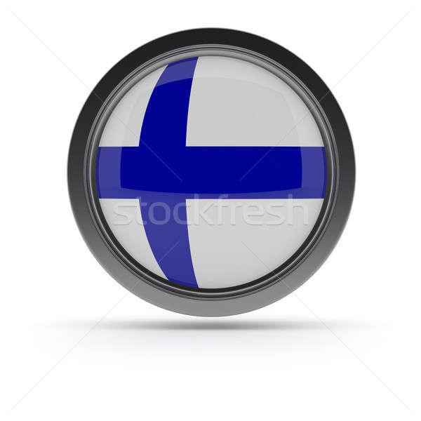 Stock fotó: Acél · kitűző · zászló · fehér · 3D · renderelt · kép