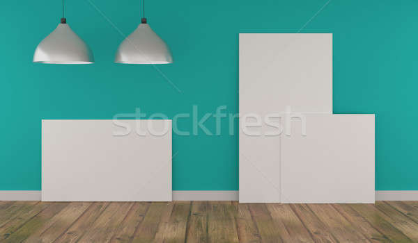 Stock photo: Three Mock up poster in a blue room