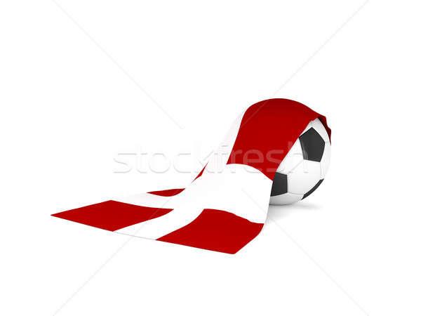 Futbol topu bayrak Danimarka futbol şampiyonluk 3D Stok fotoğraf © andreasberheide