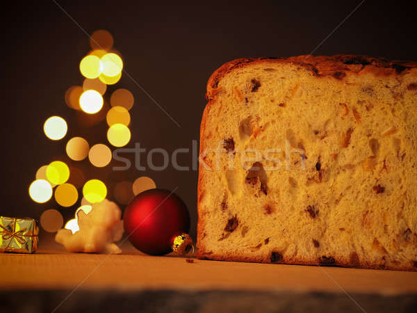 Christmas food, Panettone with tree shape Stock photo © andreasberheide
