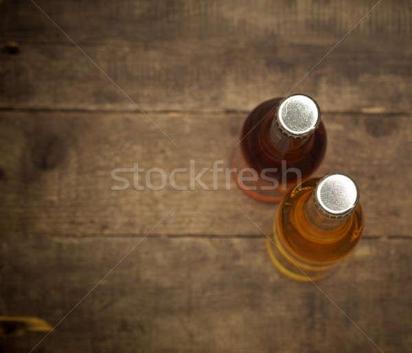 2 ボトル リンゴジュース 古い 素朴な 納屋 ストックフォト © andreasberheide