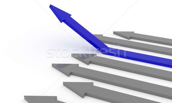 Blue rising arrow on white Stock photo © andreasberheide