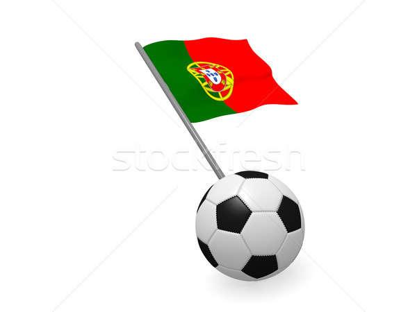 Voetbal vlag Portugal voetbal kampioenschap 3D Stockfoto © andreasberheide