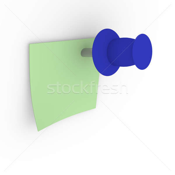 Green sticky note with blue pushpin Stock photo © andreasberheide