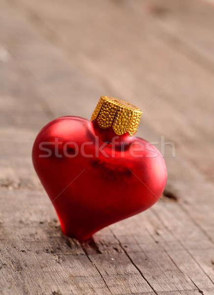 Vermelho natal bugiganga coração madeira Foto stock © andreasberheide
