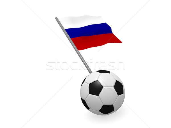 Foto stock: Balón · de · fútbol · bandera · Rusia · fútbol · campeonato · 3D
