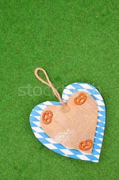 Oktoberfest hartvorm partij gras achtergrond ruimte Stockfoto © andreasberheide