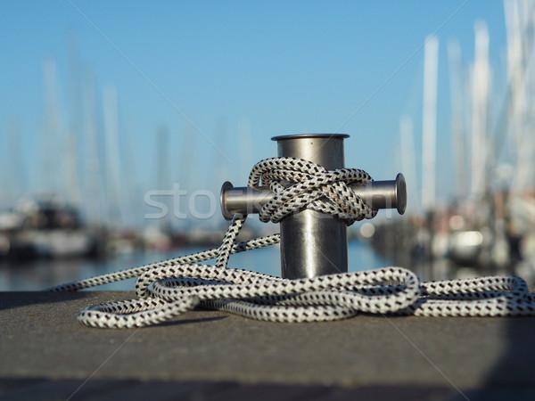 Aço inoxidável marina corda luxo macio bokeh Foto stock © andreasberheide