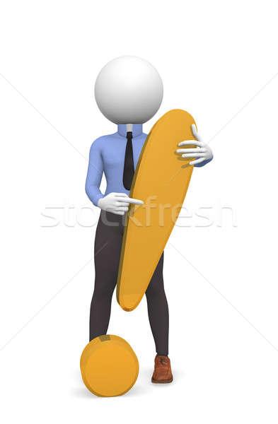 Gouden uitroepteken zakenman achtergrond teken witte Stockfoto © andreasberheide