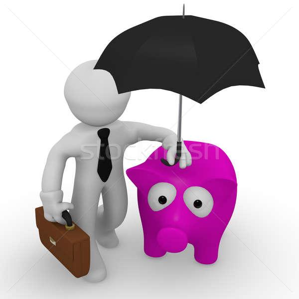 Salvar dinheiro homem de negócios piggy bank guarda-chuva abstrato Foto stock © andreasberheide