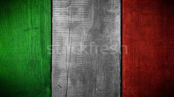Drapeau italien bois bois texture couleurs design Photo stock © andreasberheide