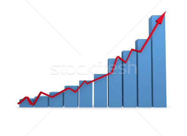Business graph in blue 3d rendering Stock photo © andreasberheide
