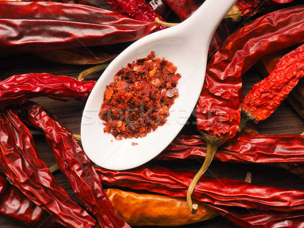 Spicy background with chilies Stock photo © andreasberheide