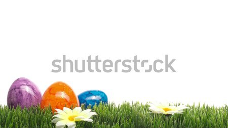 Three colored Easter eggs ob white Stock photo © andreasberheide