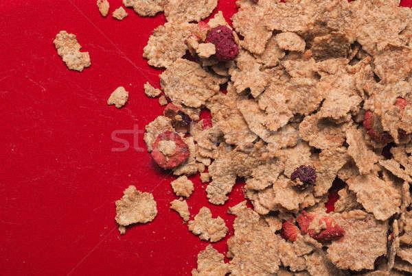 Müsli Rood plaat vruchten achtergrond ruimte Stockfoto © andreasberheide