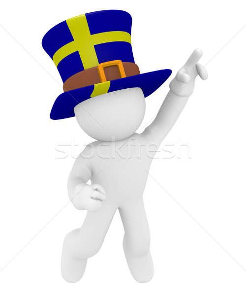 Ventilador saltar alto bandera Suecia sombrero Foto stock © andreasberheide