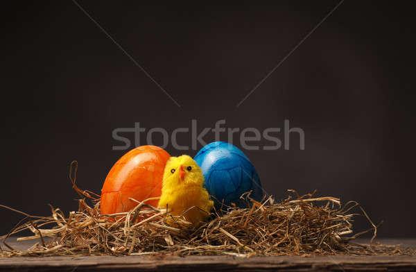 Kellemes húsvétot húsvét öreg rusztikus fa asztal étel Stock fotó © andreasberheide