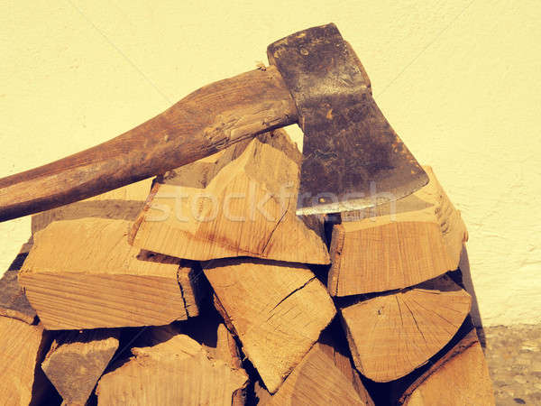 Fire wood with an old axe Stock photo © andreasberheide