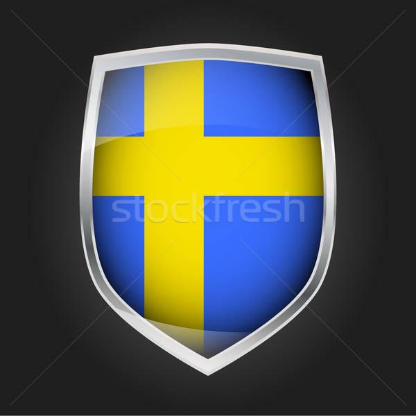 Tarcza banderą Szwecja projektu szkła metal Zdjęcia stock © andreasberheide