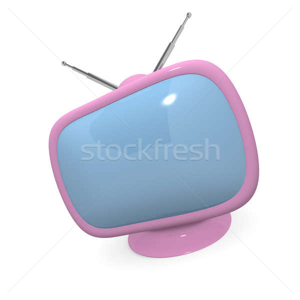 Pink retro styled television, 3d rendering Stock photo © andreasberheide