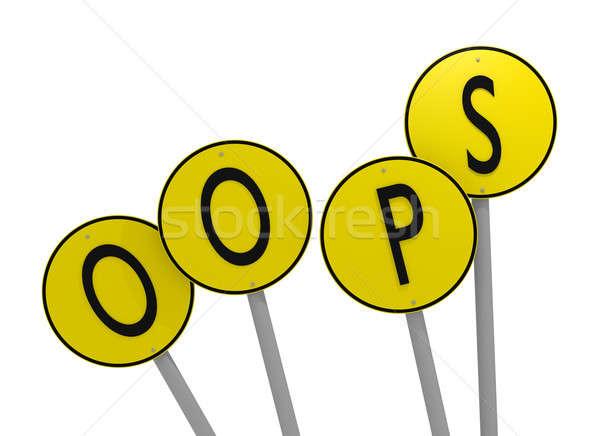 Geel borden woord oops 3D Stockfoto © andreasberheide