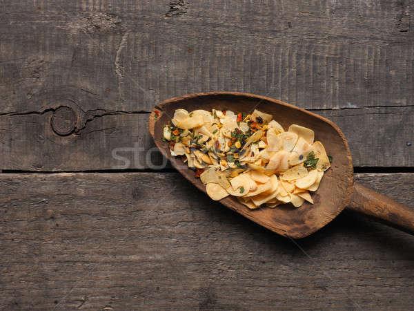 Plastry suszy czosnku pikantny zioła widok z góry Zdjęcia stock © andreasberheide