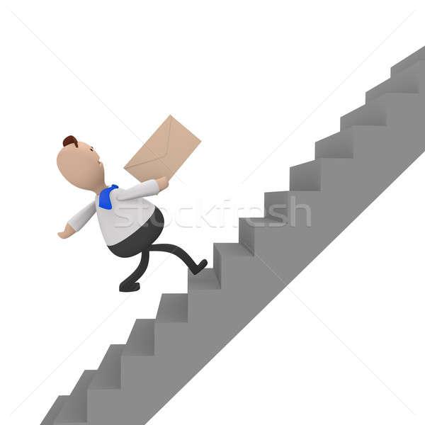 üzletember fut gyors emeleten 3D renderelt kép Stock fotó © andreasberheide