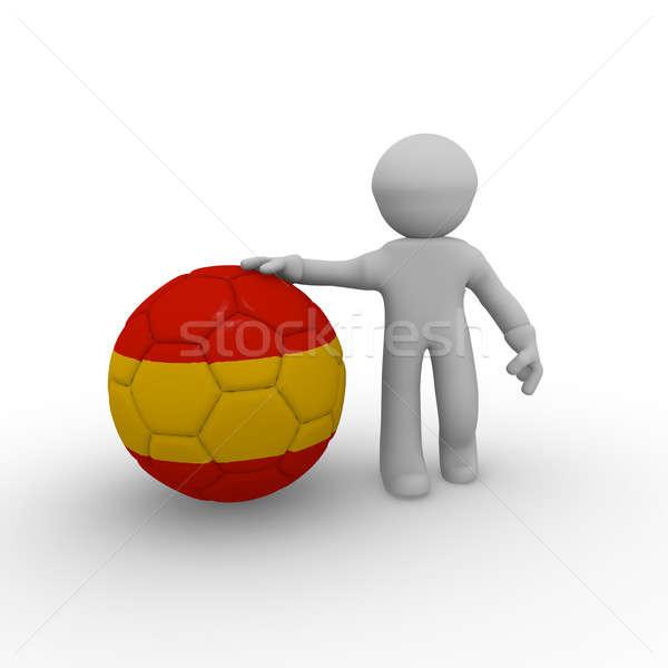 Spaans voetbal 3d man groot voetbal spaanse vlag Stockfoto © andreasberheide