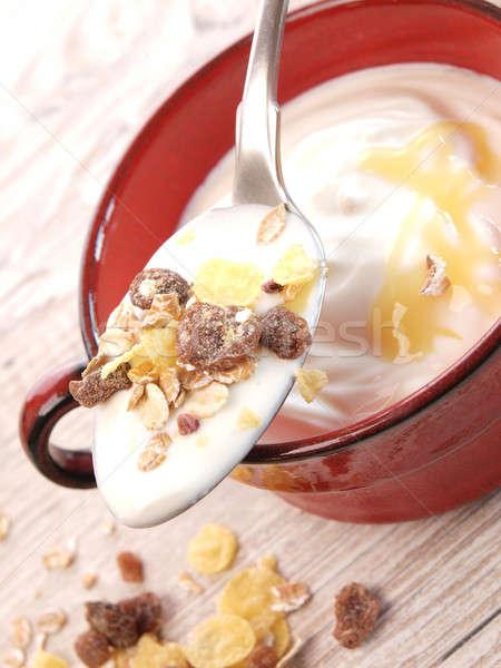健康 ミューズリー スプーン 朝食 食品 白 ストックフォト © andreasberheide
