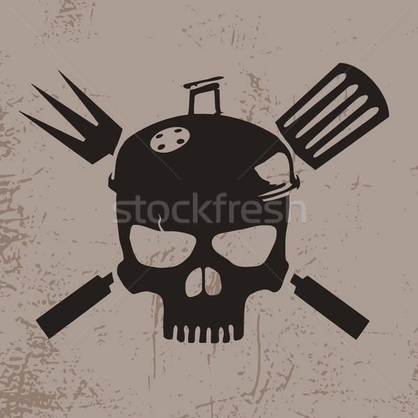 Barbeque koponya illusztráció kalap BBQ grill Stock fotó © andreasberheide