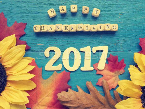 Stock fotó: Boldog · hálaadás · kék · viharvert · fa · levelek