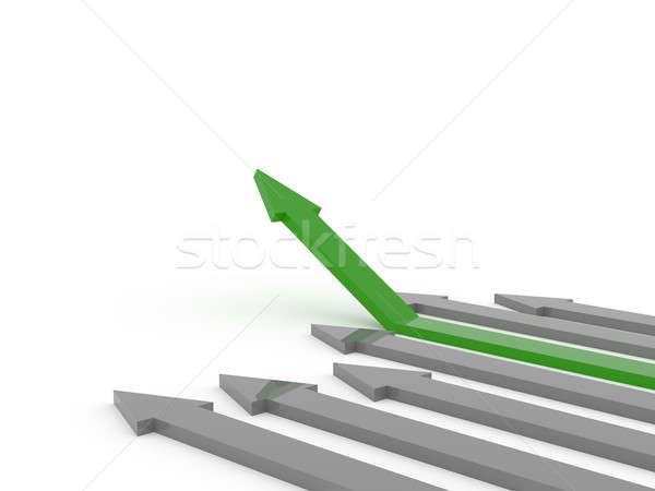 Green rising arrow on white Stock photo © andreasberheide